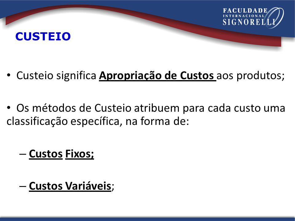 CUSTEIO Custeio significa Apropriação de Custos aos produtos; Os métodos de Custeio atribuem para cada custo uma classificação específica, na forma de: – Custos Fixos; – Custos Variáveis;
