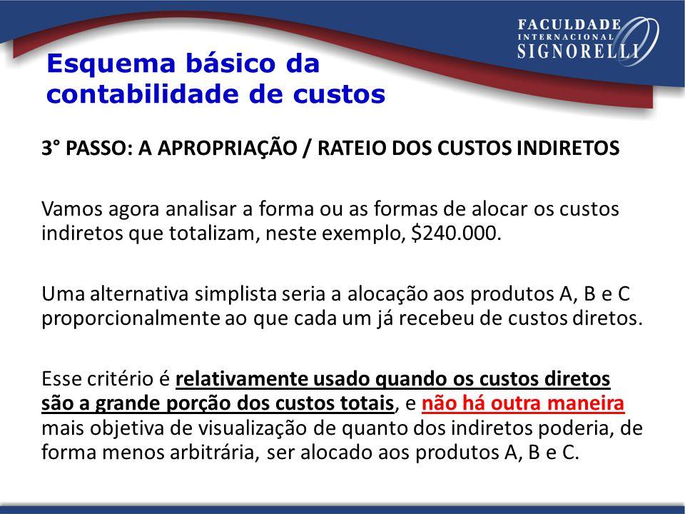 3° PASSO: A APROPRIAÇÃO / RATEIO DOS CUSTOS INDIRETOS Vamos agora analisar a forma ou as formas de alocar os custos indiretos que totalizam, neste exemplo, $240.000.