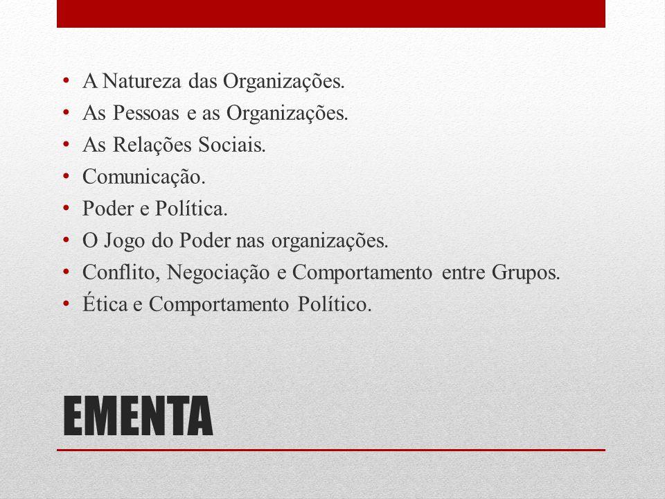 EMENTA A Natureza das Organizações. As Pessoas e as Organizações. As Relações Sociais. Comunicação. Poder e Política. O Jogo do Poder nas organizações