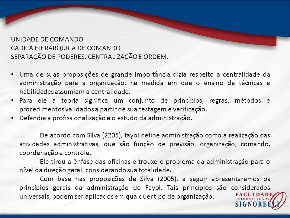 UNIDADE DE COMANDO CADEIA HIERÁRQUICA DE COMANDO SEPARAÇÃO DE PODERES, CENTRALIZAÇÃO E ORDEM. Uma de suas proposições de grande importância dizia resp