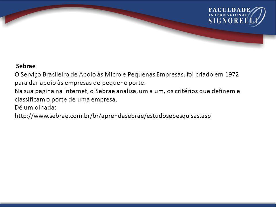 Sebrae O Serviço Brasileiro de Apoio às Micro e Pequenas Empresas, foi criado em 1972 para dar apoio às empresas de pequeno porte.