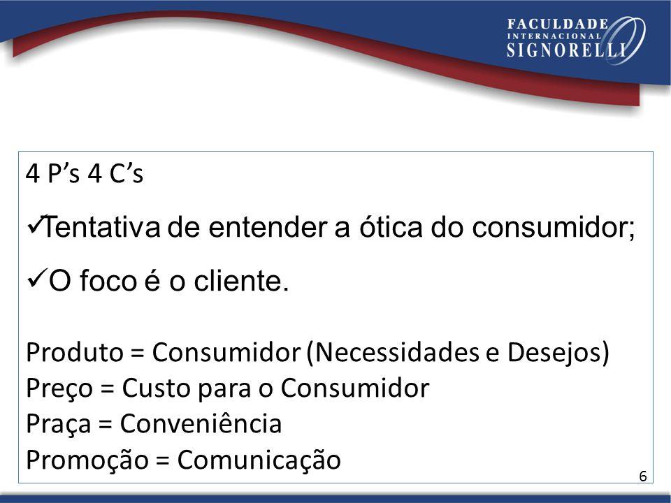 6 4 Ps 4 Cs Tentativa de entender a ótica do consumidor; O foco é o cliente.