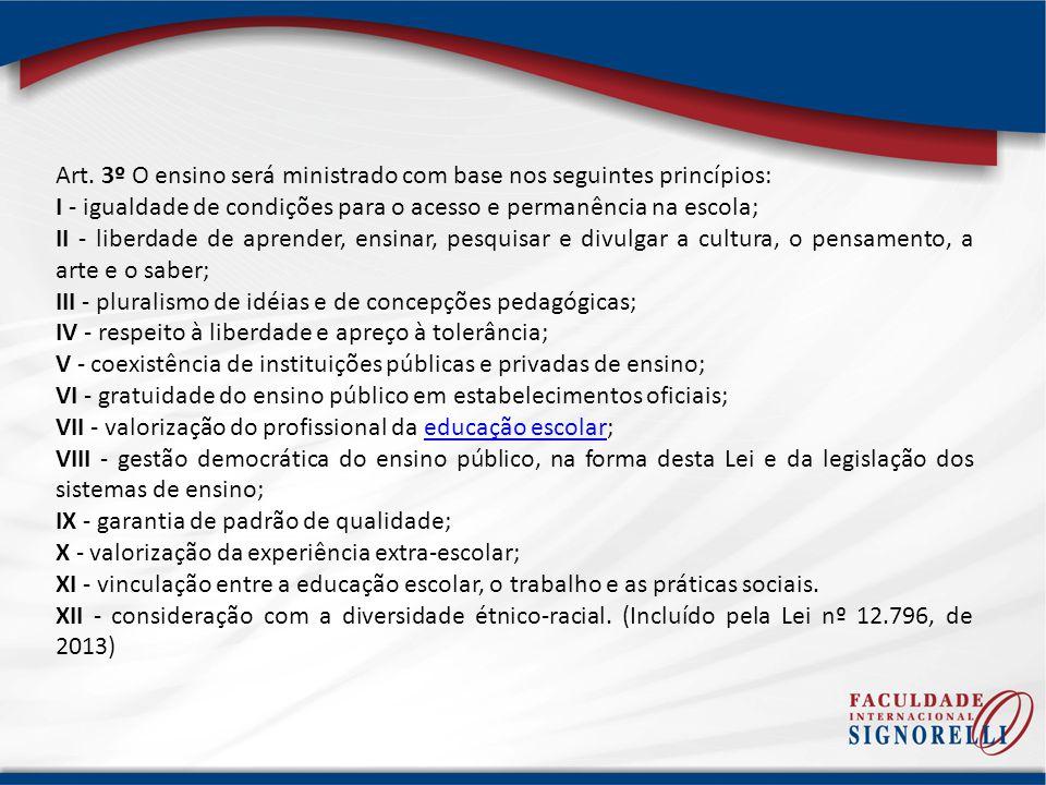 Art. 3º O ensino será ministrado com base nos seguintes princípios: I - igualdade de condições para o acesso e permanência na escola; II - liberdade d