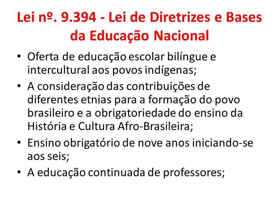 Lei nº. 9.394 - Lei de Diretrizes e Bases da Educação Nacional Oferta de educação escolar bilíngue e intercultural aos povos indígenas; A consideração
