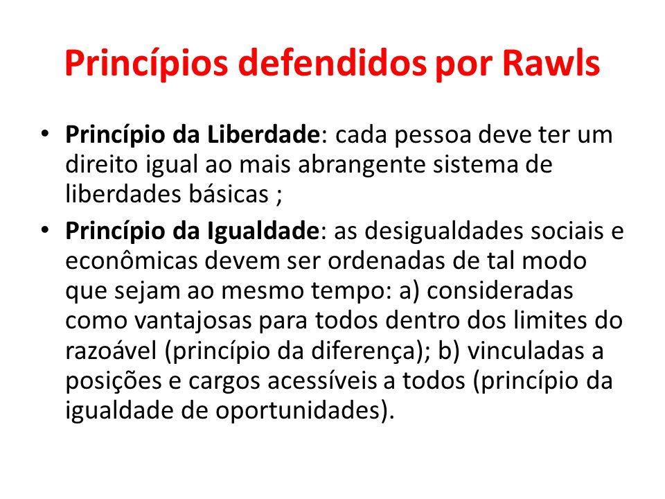 Princípios defendidos por Rawls Princípio da Liberdade: cada pessoa deve ter um direito igual ao mais abrangente sistema de liberdades básicas ; Princ