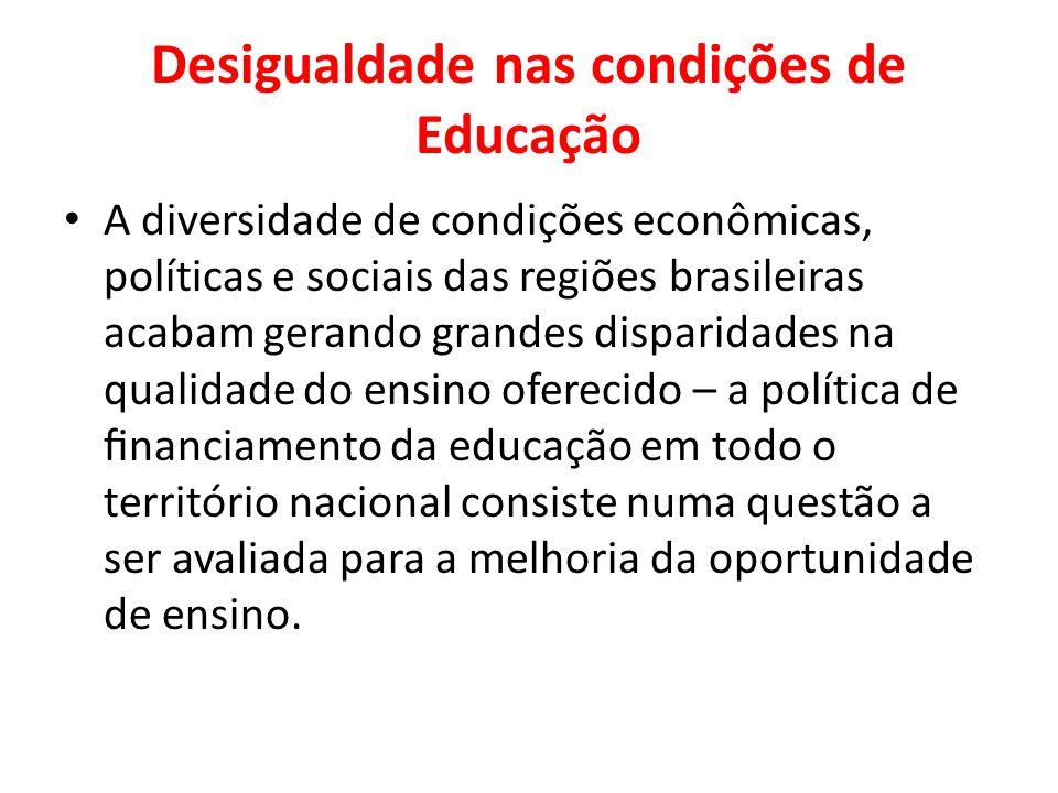 Desigualdade nas condições de Educação A diversidade de condições econômicas, políticas e sociais das regiões brasileiras acabam gerando grandes dispa