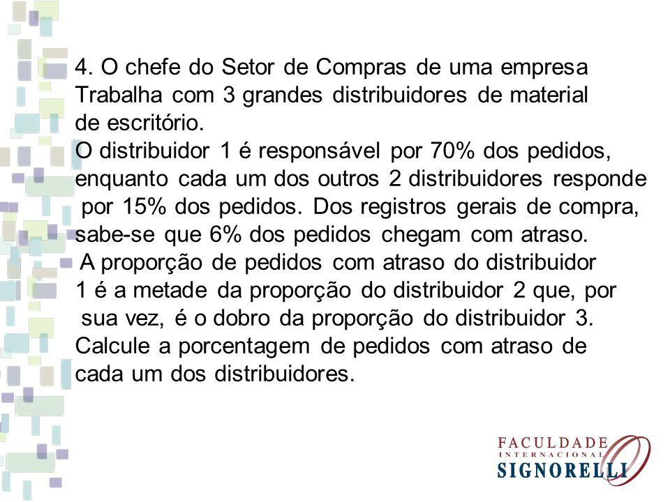 4. O chefe do Setor de Compras de uma empresa Trabalha com 3 grandes distribuidores de material de escritório. O distribuidor 1 é responsável por 70%