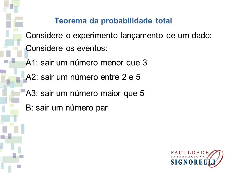 Teorema da probabilidade total Considere o experimento lançamento de um dado: Considere os eventos: A1: sair um número menor que 3 A2: sair um número entre 2 e 5 A3: sair um número maior que 5 B: sair um número par