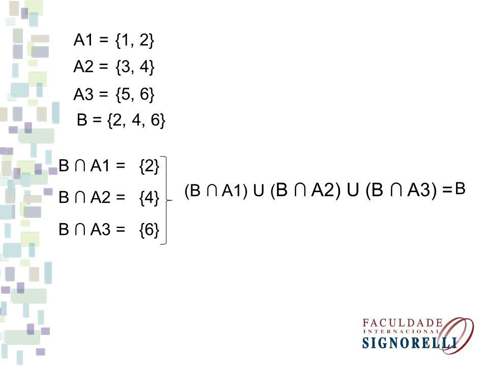 {1, 2} {3, 4} {5, 6} A1 = A2 = A3 = B A1 = B = {2, 4, 6} {2} B A2 = {4} B A3 = {6} (B A1) U ( B A2) U (B A3) = B