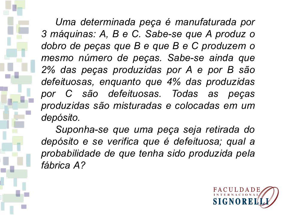 - evento A: {peça produzida pela máquina A} - evento B: {peça produzida pela máquina B} - evento C: {peça produzida pela máquina C} - evento D: {peça defeituosa} -P(A) = -P(B) = - P(C) = - P(D\A) = - P(D\B) = - P(D\C) = 50% 25% 2% 4%
