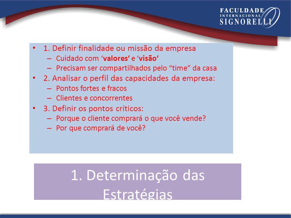 1. Determinação das Estratégias 1. Definir finalidade ou missão da empresa – Cuidado com valores e visão – Precisam ser compartilhados pelo time da ca