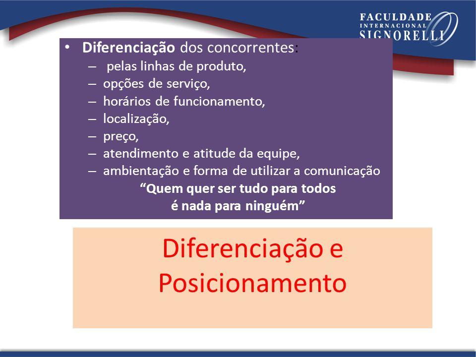 Diferenciação e Posicionamento Diferenciação dos concorrentes: – pelas linhas de produto, – opções de serviço, – horários de funcionamento, – localiza