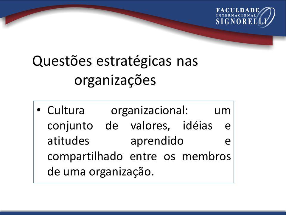 Questões estratégicas nas organizações Cultura organizacional: um conjunto de valores, idéias e atitudes aprendido e compartilhado entre os membros de