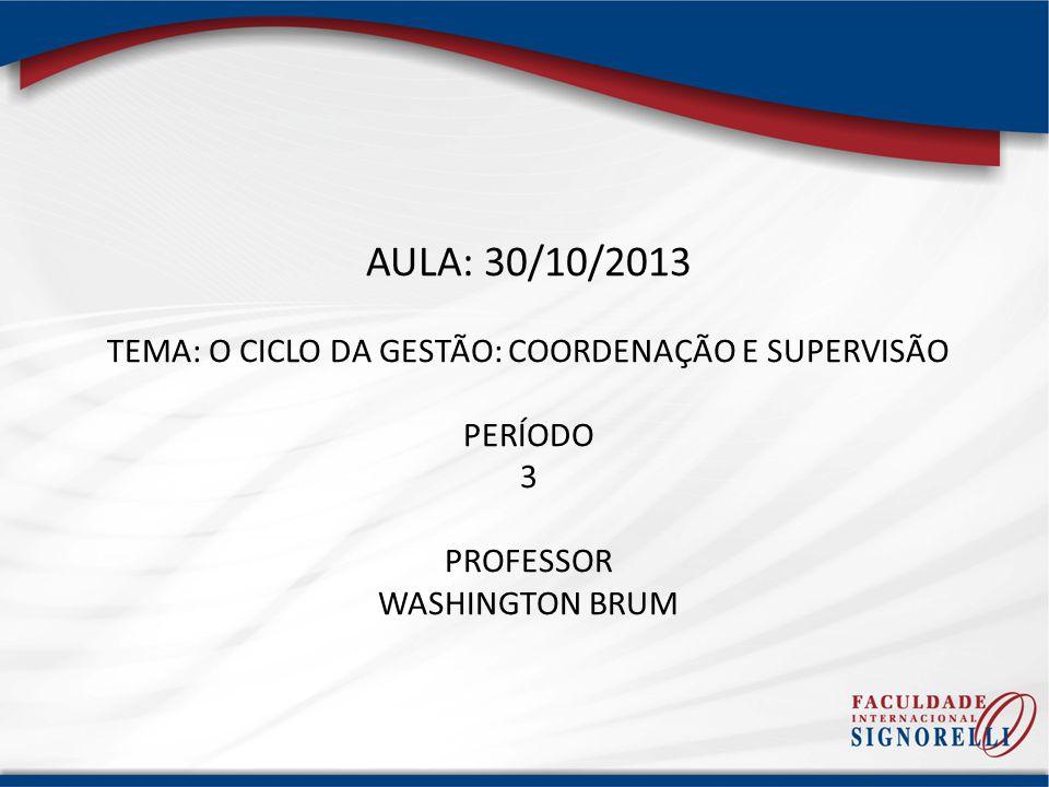 AULA: 30/10/2013 TEMA: O CICLO DA GESTÃO: COORDENAÇÃO E SUPERVISÃO PERÍODO 3 PROFESSOR WASHINGTON BRUM