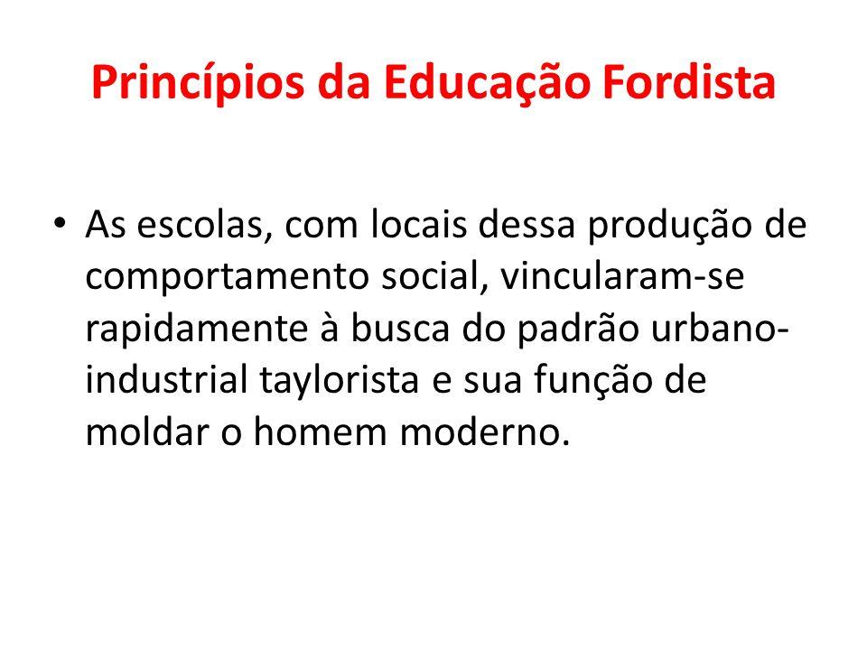 Princípios da Educação Fordista As escolas, com locais dessa produção de comportamento social, vincularam-se rapidamente à busca do padrão urbano- ind