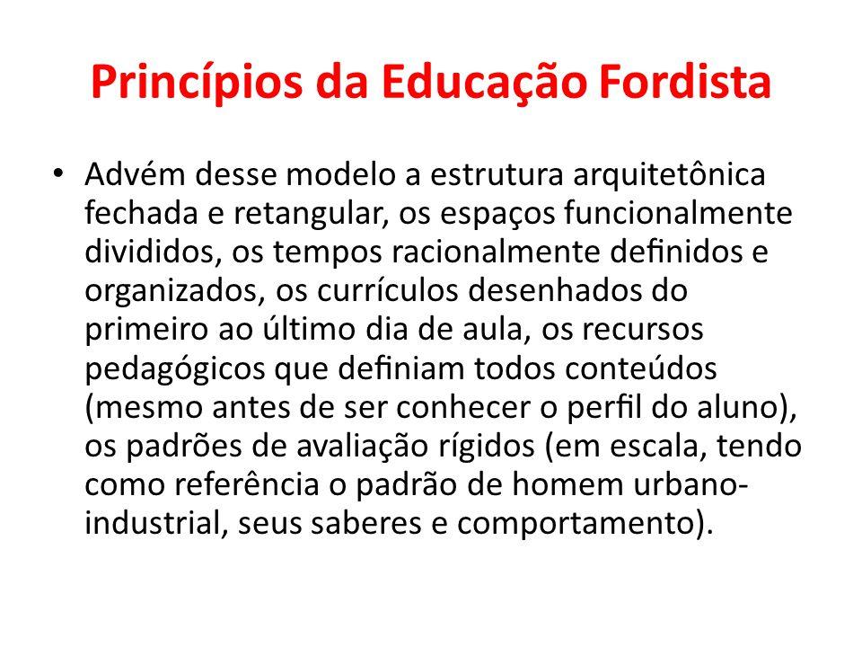 Princípios da Educação Fordista Advém desse modelo a estrutura arquitetônica fechada e retangular, os espaços funcionalmente divididos, os tempos raci