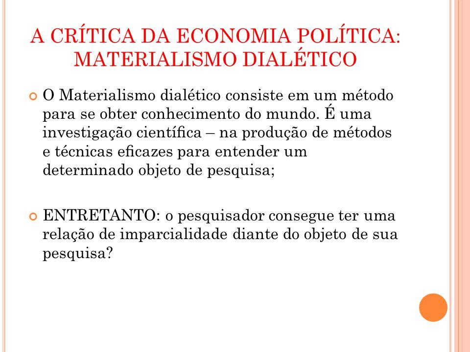 A CRÍTICA DA ECONOMIA POLÍTICA: MATERIALISMO DIALÉTICO O Materialismo dialético consiste em um método para se obter conhecimento do mundo. É uma inves