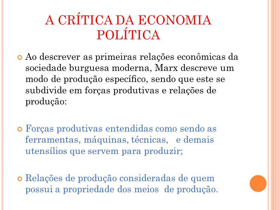 A CRÍTICA DA ECONOMIA POLÍTICA Ao descrever as primeiras relações econômicas da sociedade burguesa moderna, Marx descreve um modo de produção especíco