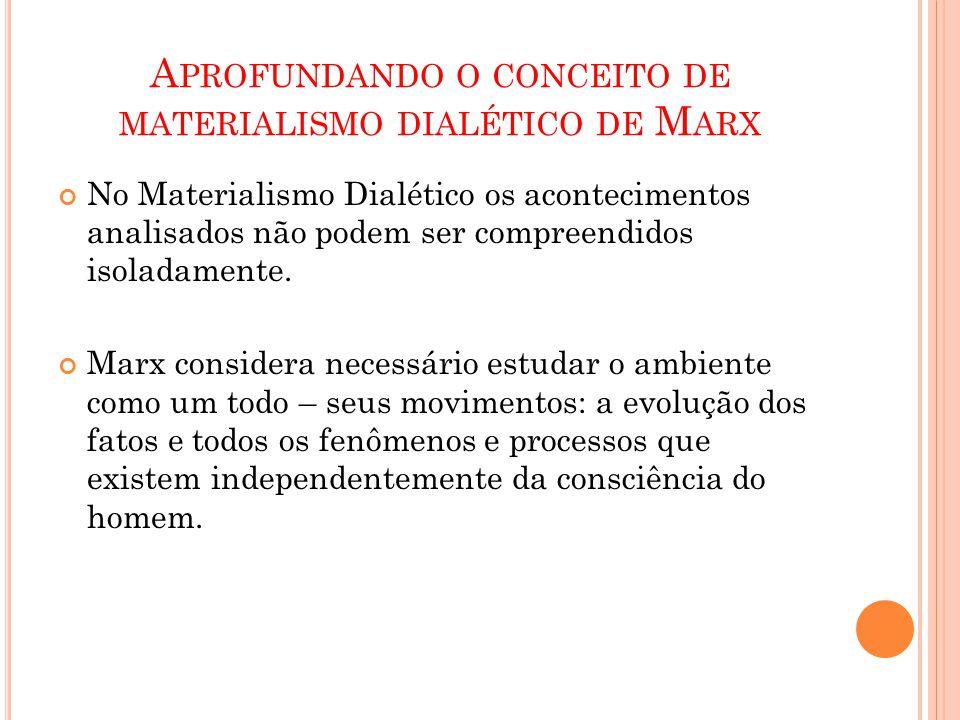 A PROFUNDANDO O CONCEITO DE MATERIALISMO DIALÉTICO DE M ARX No Materialismo Dialético os acontecimentos analisados não podem ser compreendidos isolada