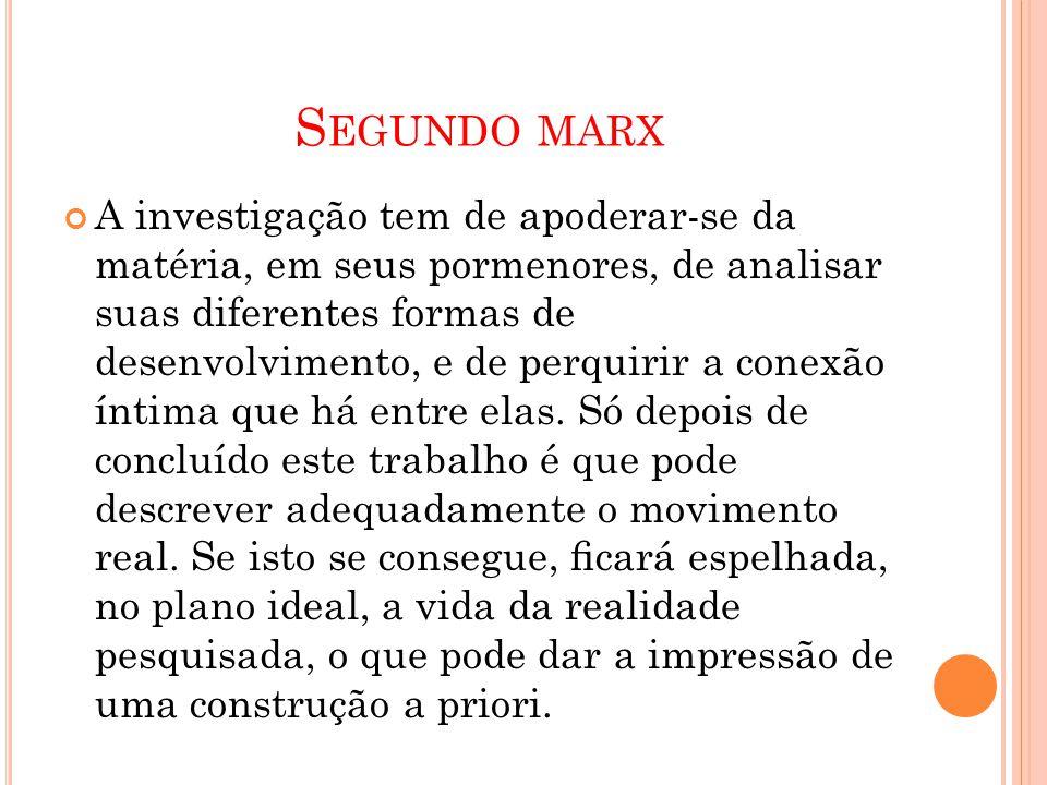 S EGUNDO MARX A investigação tem de apoderar-se da matéria, em seus pormenores, de analisar suas diferentes formas de desenvolvimento, e de perquirir
