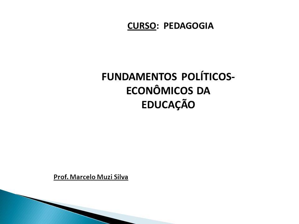FUNDAMENTOS POLÍTICOS- ECONÔMICOS DA EDUCAÇÃO CURSO: PEDAGOGIA Prof. Marcelo Muzi Silva