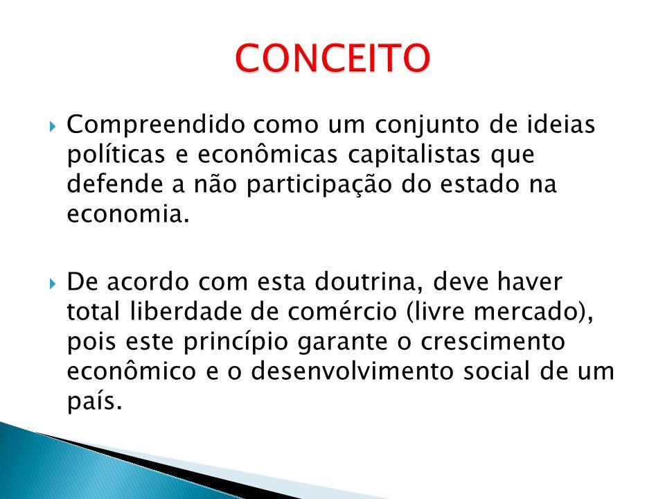 Compreendido como um conjunto de ideias políticas e econômicas capitalistas que defende a não participação do estado na economia. De acordo com esta d