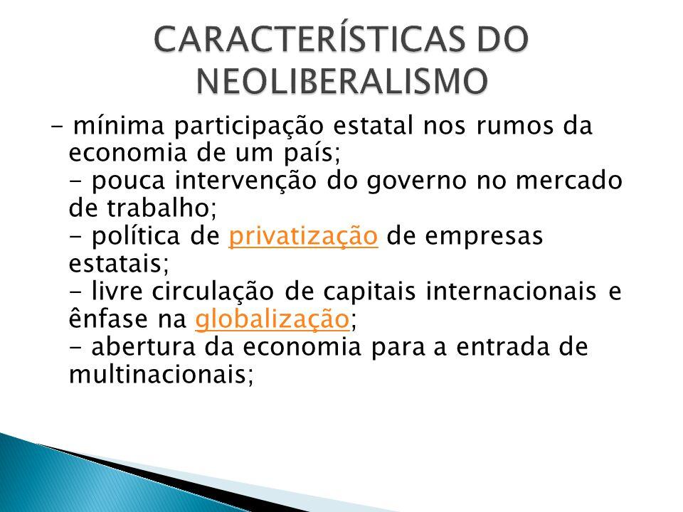 - mínima participação estatal nos rumos da economia de um país; - pouca intervenção do governo no mercado de trabalho; - política de privatização de e