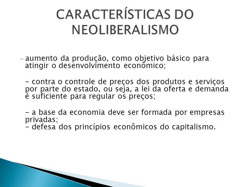 - aumento da produção, como objetivo básico para atingir o desenvolvimento econômico; - contra o controle de preços dos produtos e serviços por parte