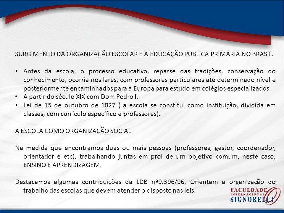 SURGIMENTO DA ORGANIZAÇÃO ESCOLAR E A EDUCAÇÃO PÚBLICA PRIMÁRIA NO BRASIL. Antes da escola, o processo educativo, repasse das tradições, conservação d
