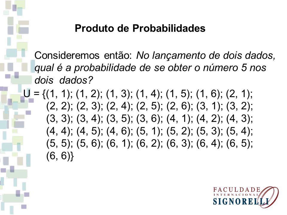 P = 1 36 Desmembrando tal resultado através de multiplicação de probabilidades P = 1.