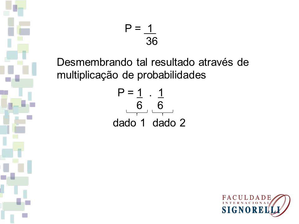 À probabilidade de ocorrer dois eventos A e B pode ser compreendida como a probabilidade de ocorrer o evento A B e é igual ao produto da probabilidade de um deles pela probabilidade do outro, sendo que o primeiro já ocorreu.