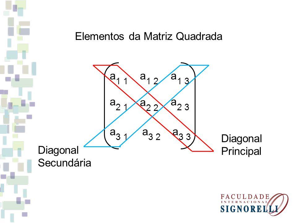 Elementos da Matriz Quadrada 1 a 2 1 a 3 1 a 1 2 a 2 a 3 2 a 1 3 a 2 3 a 3 a Diagonal Principal Diagonal Secundária