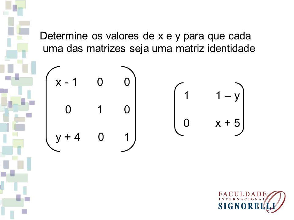 Determine os valores de x e y para que cada uma das matrizes seja uma matriz identidade x - 1 0 0 0 1 0 y + 4 0 1 1 1 – y 0 x + 5
