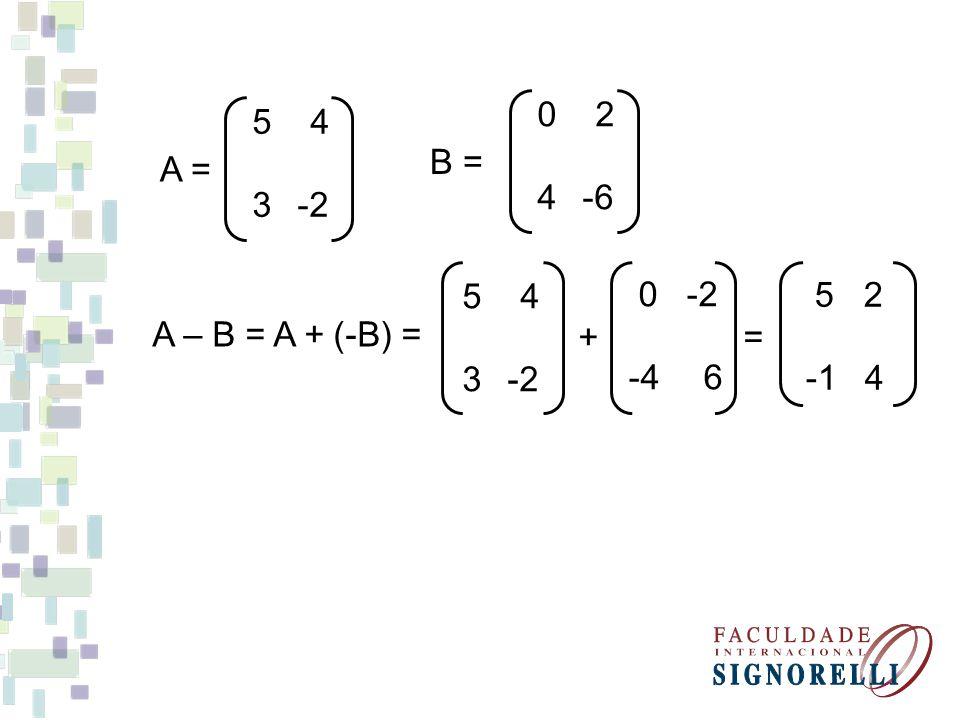 5 4 3 -2 A = 0 2 4 -6 B = A – B = A + (-B) = 5 4 + = 3 -2 0 -2 -4 6 5 2 -1 4