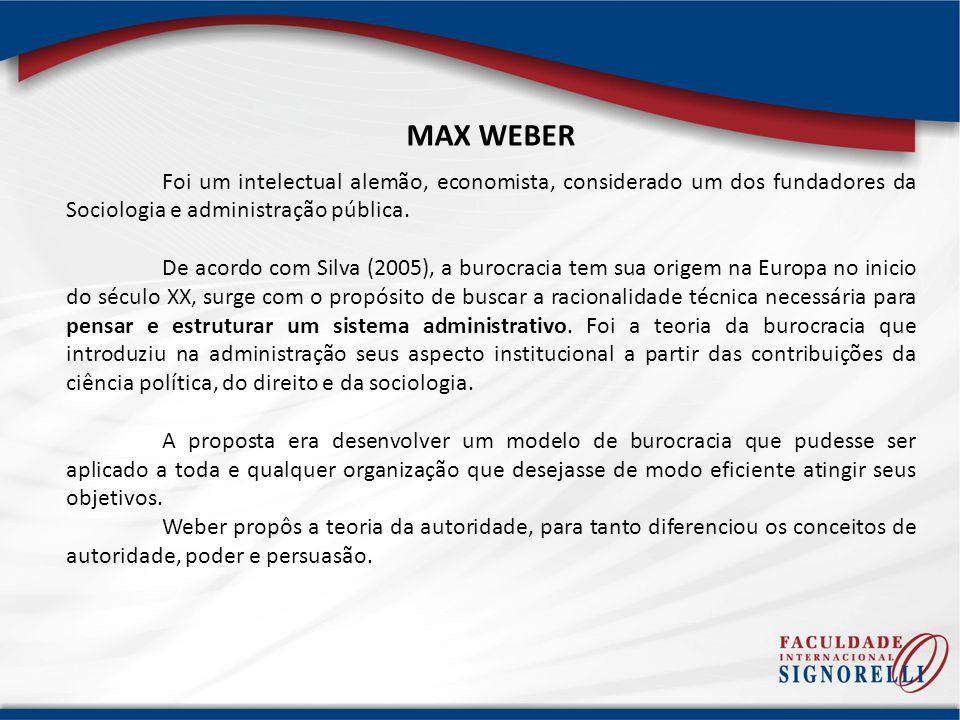 MAX WEBER Foi um intelectual alemão, economista, considerado um dos fundadores da Sociologia e administração pública. De acordo com Silva (2005), a bu