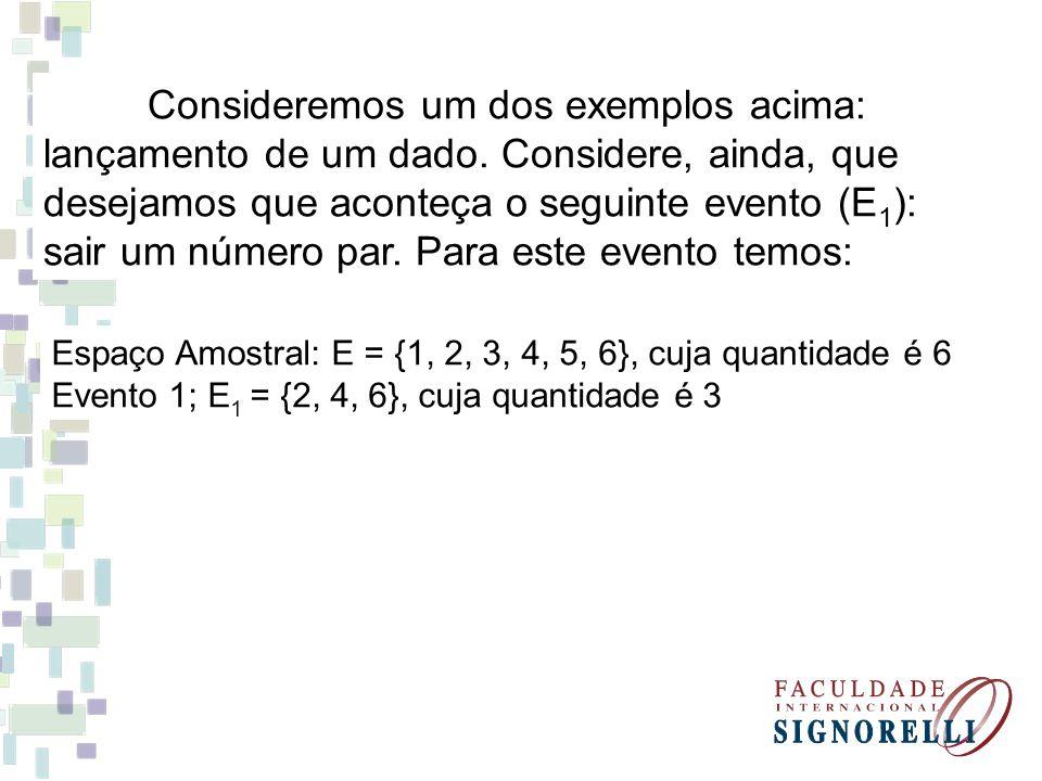 Consideremos um dos exemplos acima: lançamento de um dado. Considere, ainda, que desejamos que aconteça o seguinte evento (E 1 ): sair um número par.