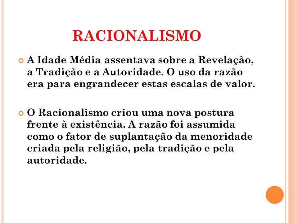 RACIONALISMO A Idade Média assentava sobre a Revelação, a Tradição e a Autoridade.