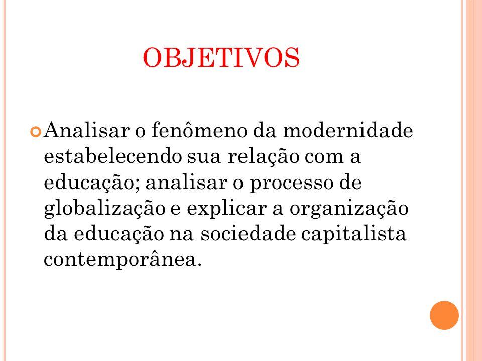 OBJETIVOS Analisar o fenômeno da modernidade estabelecendo sua relação com a educação; analisar o processo de globalização e explicar a organização da educação na sociedade capitalista contemporânea.