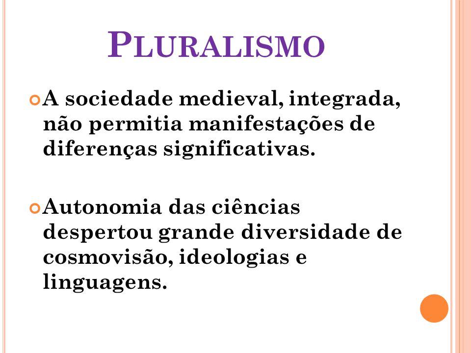 P LURALISMO A sociedade medieval, integrada, não permitia manifestações de diferenças significativas.