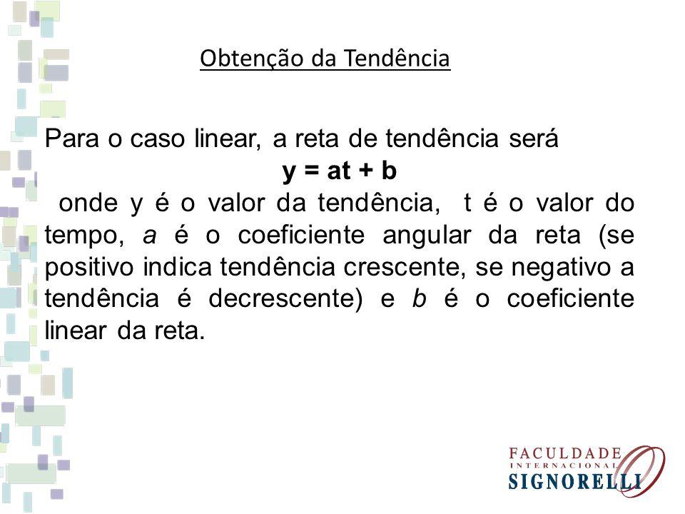 Obtenção da Tendência Para o caso linear, a reta de tendência será y = at + b onde y é o valor da tendência, t é o valor do tempo, a é o coeficiente a