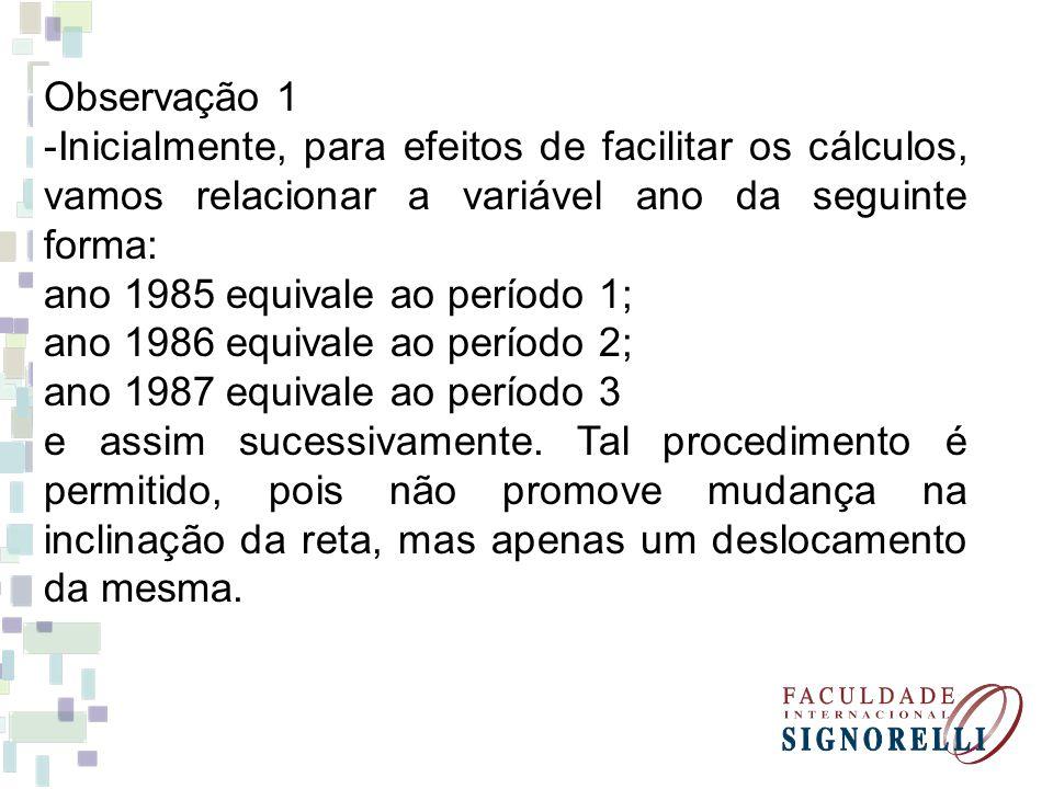 Observação 1 -Inicialmente, para efeitos de facilitar os cálculos, vamos relacionar a variável ano da seguinte forma: ano 1985 equivale ao período 1;