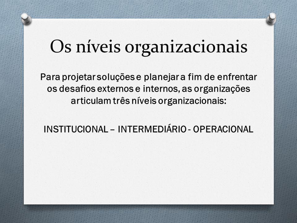 Os níveis organizacionais Para projetar soluções e planejar a fim de enfrentar os desafios externos e internos, as organizações articulam três níveis