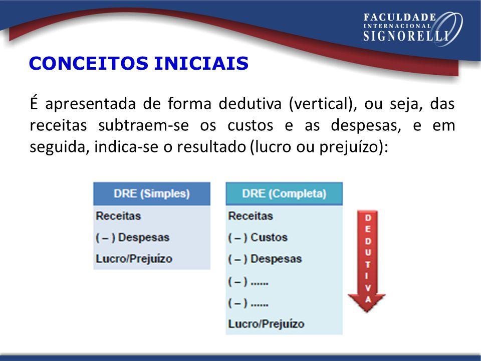 É apresentada de forma dedutiva (vertical), ou seja, das receitas subtraem-se os custos e as despesas, e em seguida, indica-se o resultado (lucro ou p