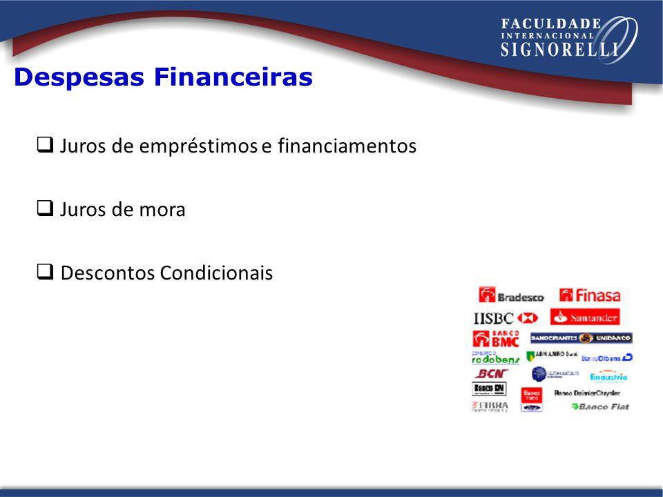 Despesas Financeiras Juros de empréstimos e financiamentos Juros de mora Descontos Condicionais