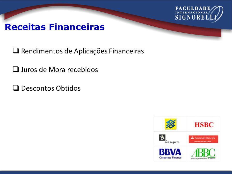 Receitas Financeiras Rendimentos de Aplicações Financeiras Juros de Mora recebidos Descontos Obtidos