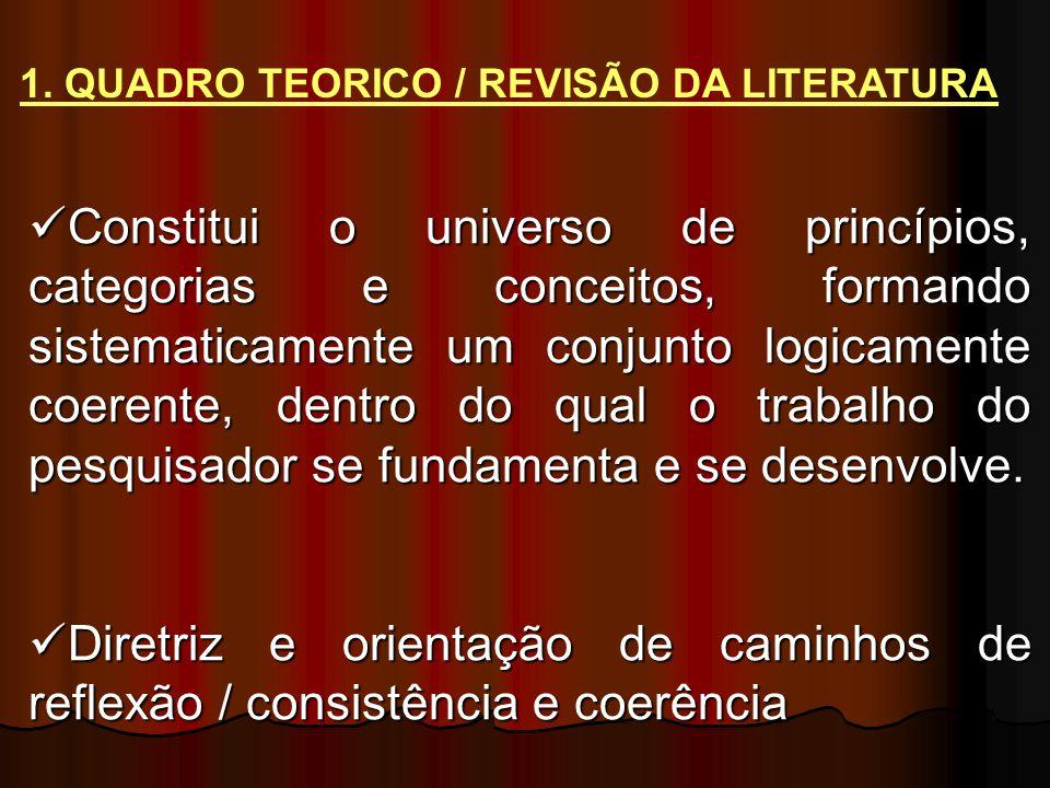 Constitui o universo de princípios, categorias e conceitos, formando sistematicamente um conjunto logicamente coerente, dentro do qual o trabalho do pesquisador se fundamenta e se desenvolve.