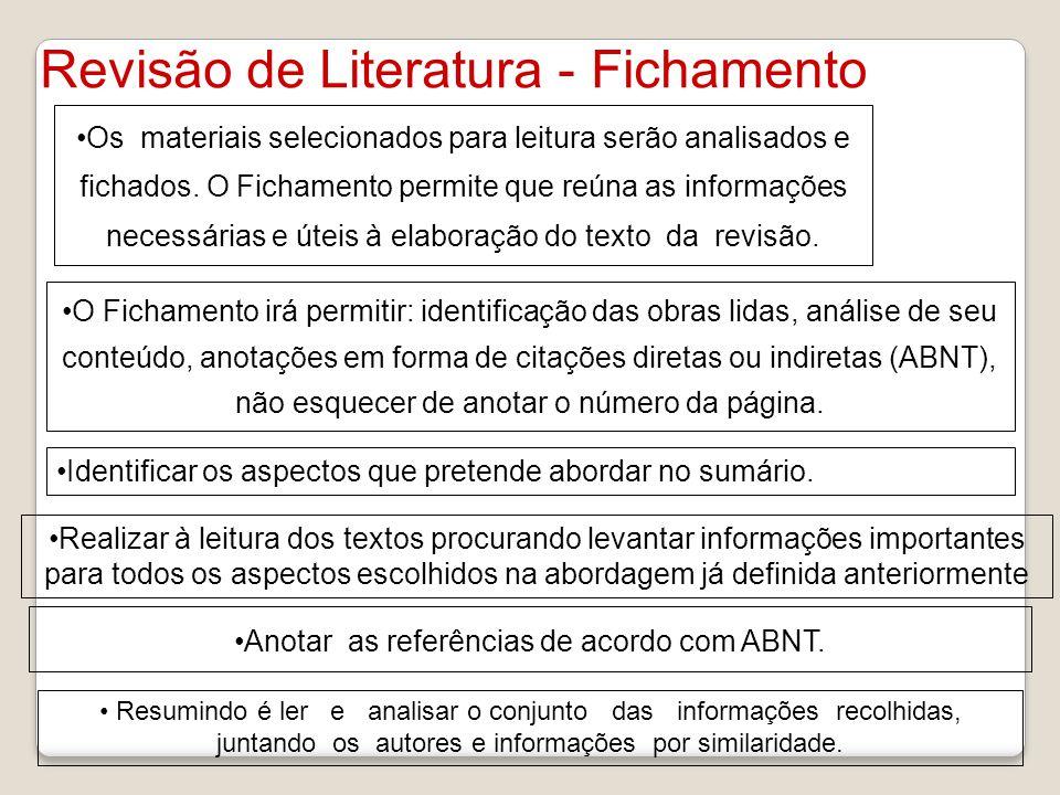 Revisão de Literatura - Fichamento Os materiais selecionados para leitura serão analisados e fichados. O Fichamento permite que reúna as informações n