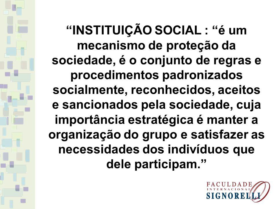 INSTITUIÇÃO SOCIAL : é um mecanismo de proteção da sociedade, é o conjunto de regras e procedimentos padronizados socialmente, reconhecidos, aceitos e