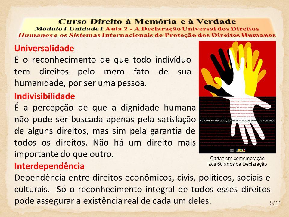 8/11 Universalidade É o reconhecimento de que todo indivíduo tem direitos pelo mero fato de sua humanidade, por ser uma pessoa.