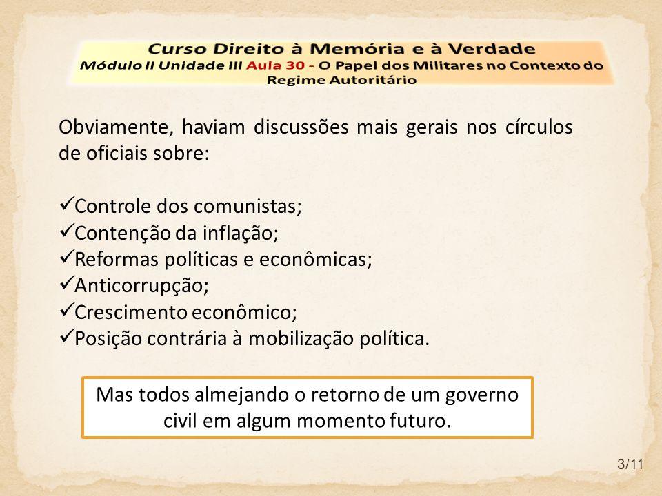 3/11 Obviamente, haviam discussões mais gerais nos círculos de oficiais sobre: Controle dos comunistas; Contenção da inflação; Reformas políticas e ec